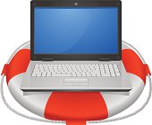 Lifebuoy and laptop