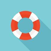 Lifebuoy icon, modern minimal flat design style