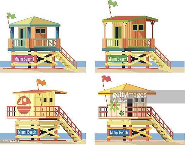 lifeguard hut - panama city stock illustrations, clip art, cartoons, & icons