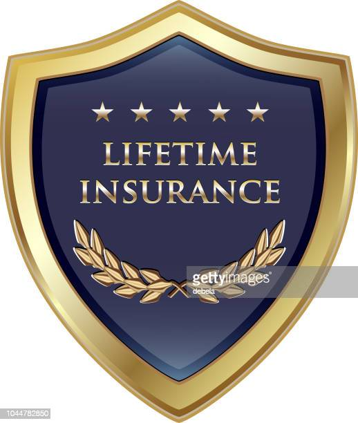 Lifetime Insurance Policy Gold Luxury Shield Label