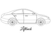 Liftback car body type outline