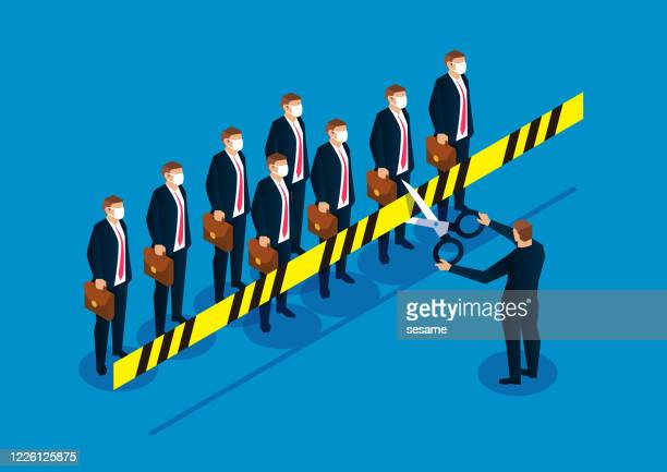 lifting the crisis, businessman holding scissors cut off the cordon to isolate people - glühend stock illustrations