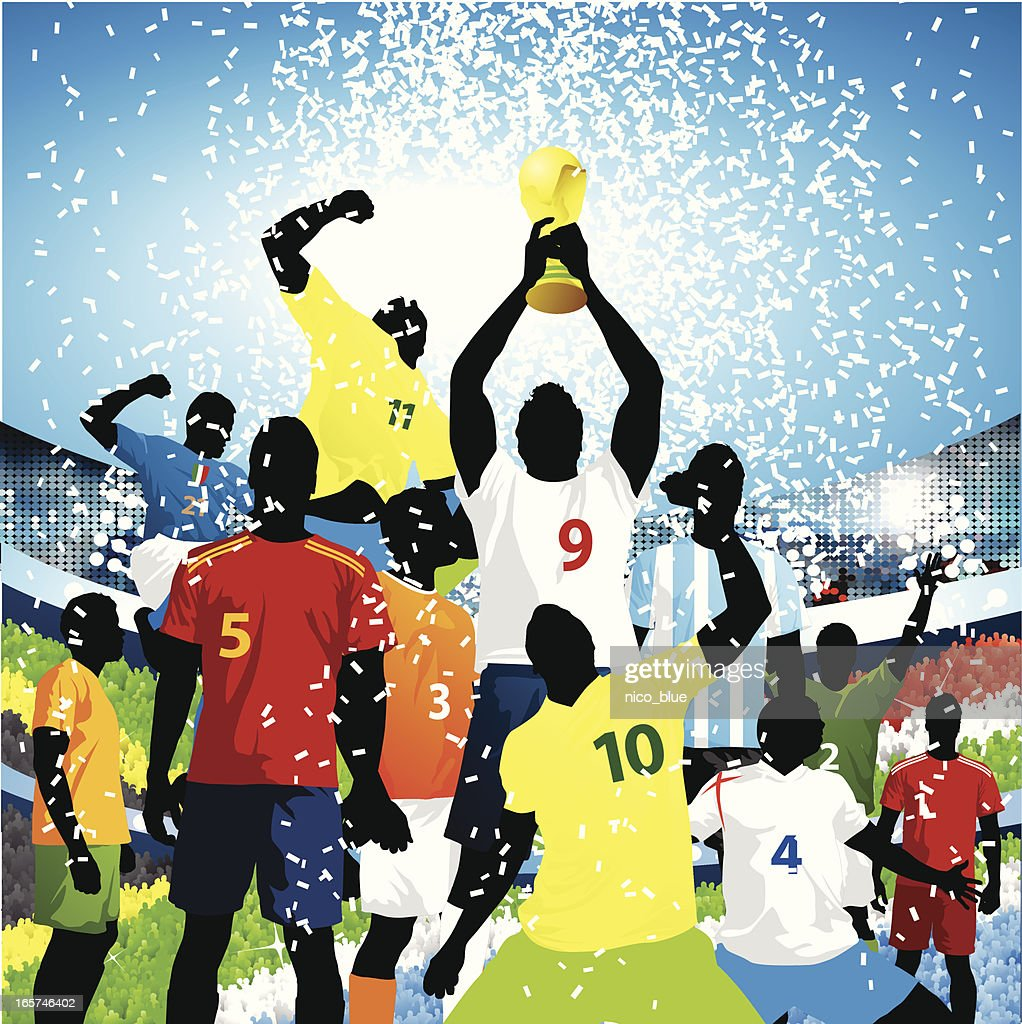 Lifting the world cup! : stock illustration