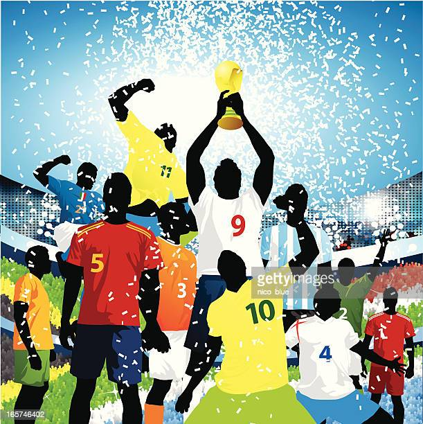 lifting the world cup! - sports team stock illustrations, clip art, cartoons, & icons