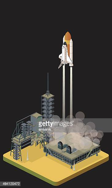 liftoff - space shuttle atlantis stock illustrations