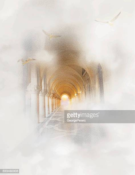 light at the end of the tunnel - heaven stock illustrations