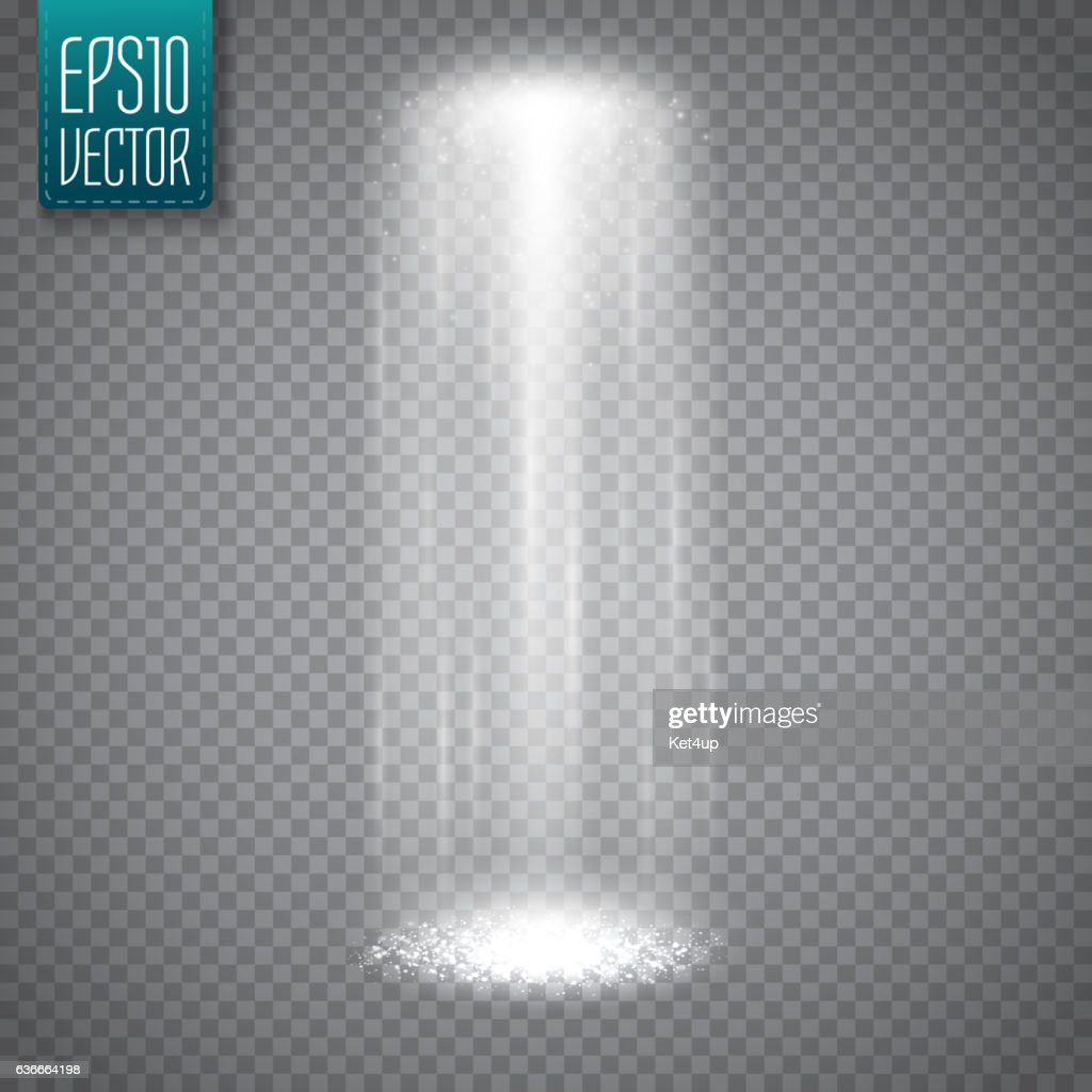 UFO light beam isolated on transparent background. Magic spotlight. Vector