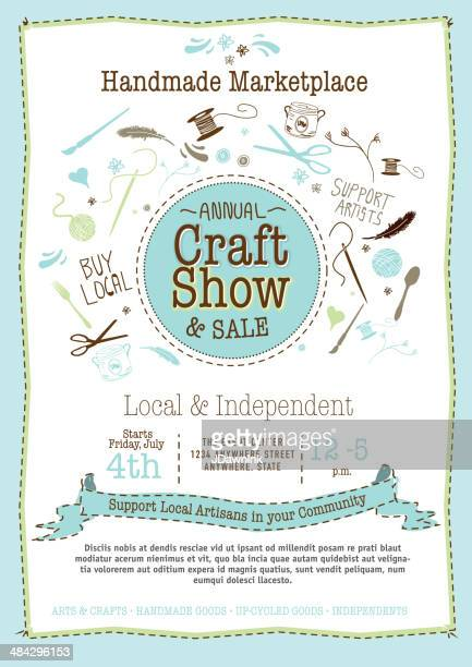 Light blue Craft show and sale poster design template