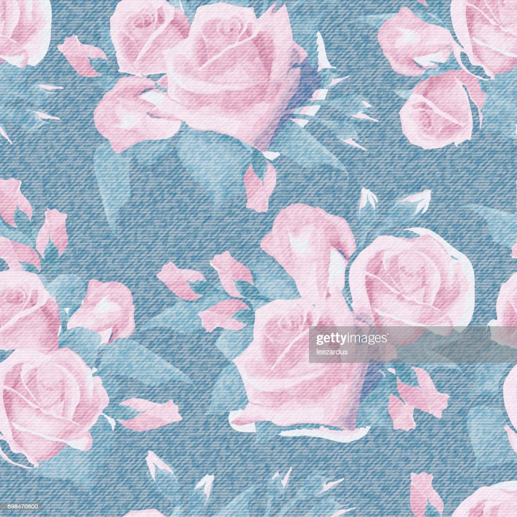 Light Blue Denim With Colorful Floral Pattern Beautiful English