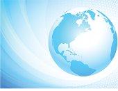 Light blue globe. North America.