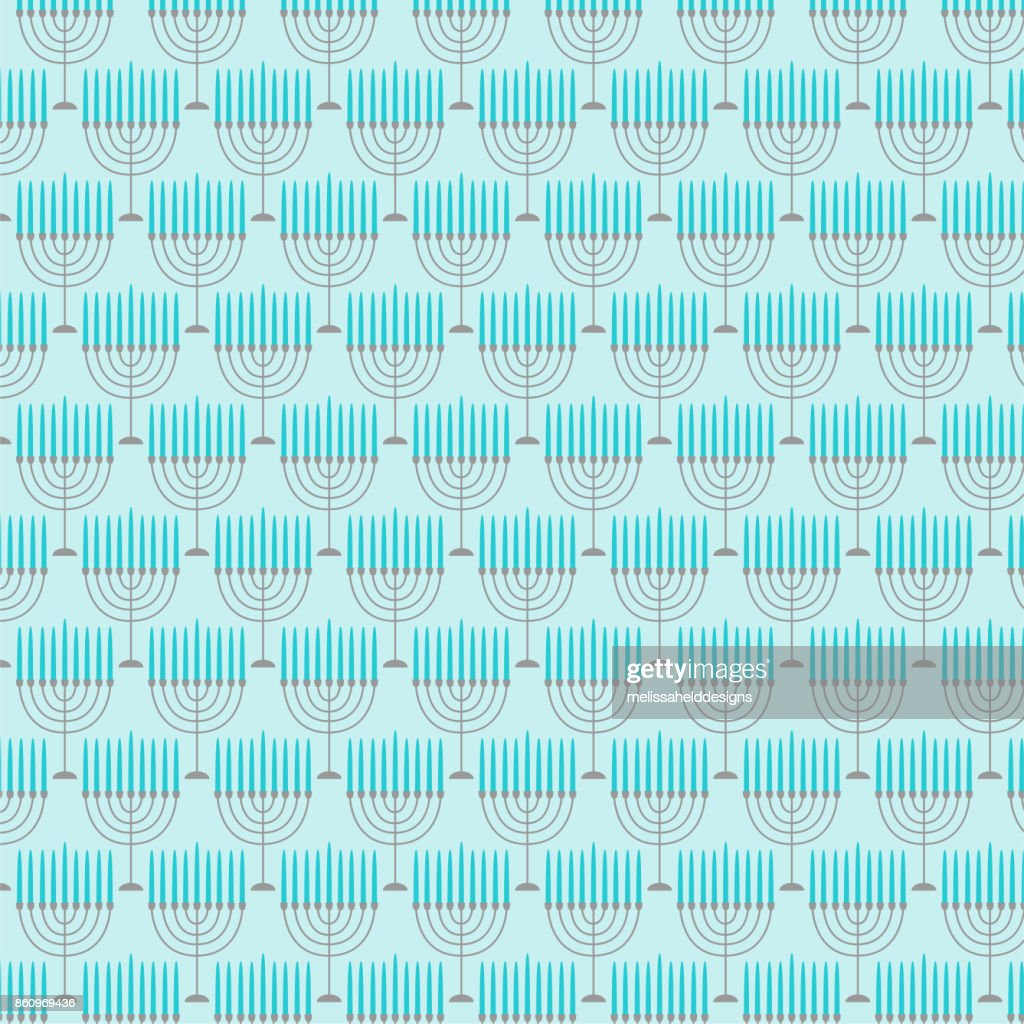 light blue menorah pattern
