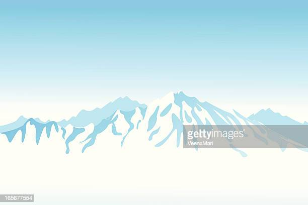Light blue mountain view clip art