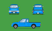 light blue pickup truck cab car front side back view transport vector illustration eps10
