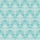 Light blue swirls damask seamless pattern background