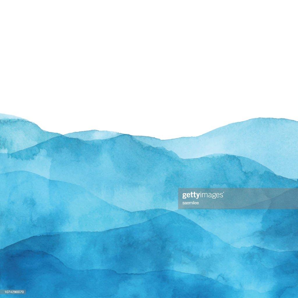 波と水色の水彩背景 : ストックイラストレーション