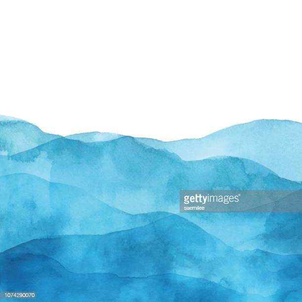 illustrazioni stock, clip art, cartoni animati e icone di tendenza di light blue watercolor background with waves - inchiostro