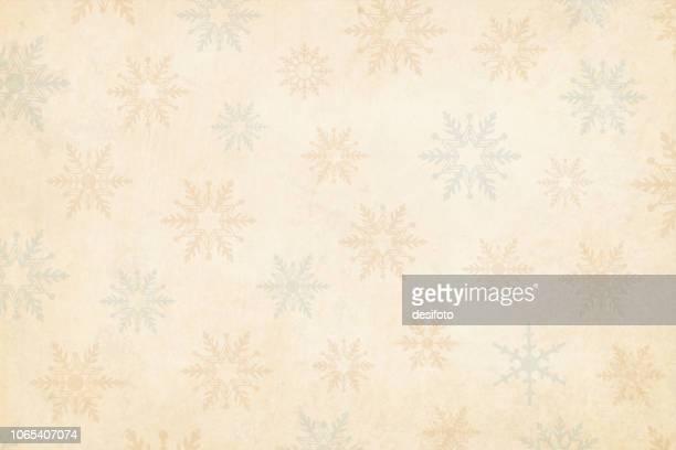 ilustraciones, imágenes clip art, dibujos animados e iconos de stock de vertical de navidad de grunge marrón, beige claro fondo con diferentes tipos de copos de nieve de navidad de marca de agua, en opaco y pálidos azul verdes y el naranjas rojo marrón tonos pastel. - glamour