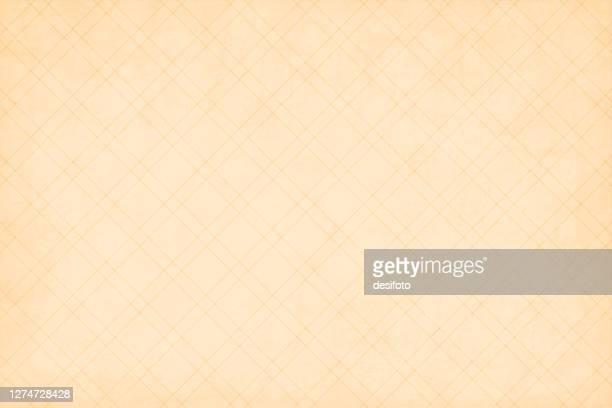 hellbraune oder beigefarbene grunge alte vektorhintergründe mit einem all-over-muster von schmalen criss kreuzen doppelte linien. die tapete ist halb nahtlos (das crisscross-design ist nahtlos, während der grunge nicht) - tapete stock-grafiken, -clipart, -cartoons und -symbole