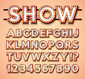 Light Bulb Alphabet with bright red frame and shadow on red backgrond. Glowing retro vector font collection with shiny lights. ABC and number design for casino, night club or cinema. Layered Separated Characters.