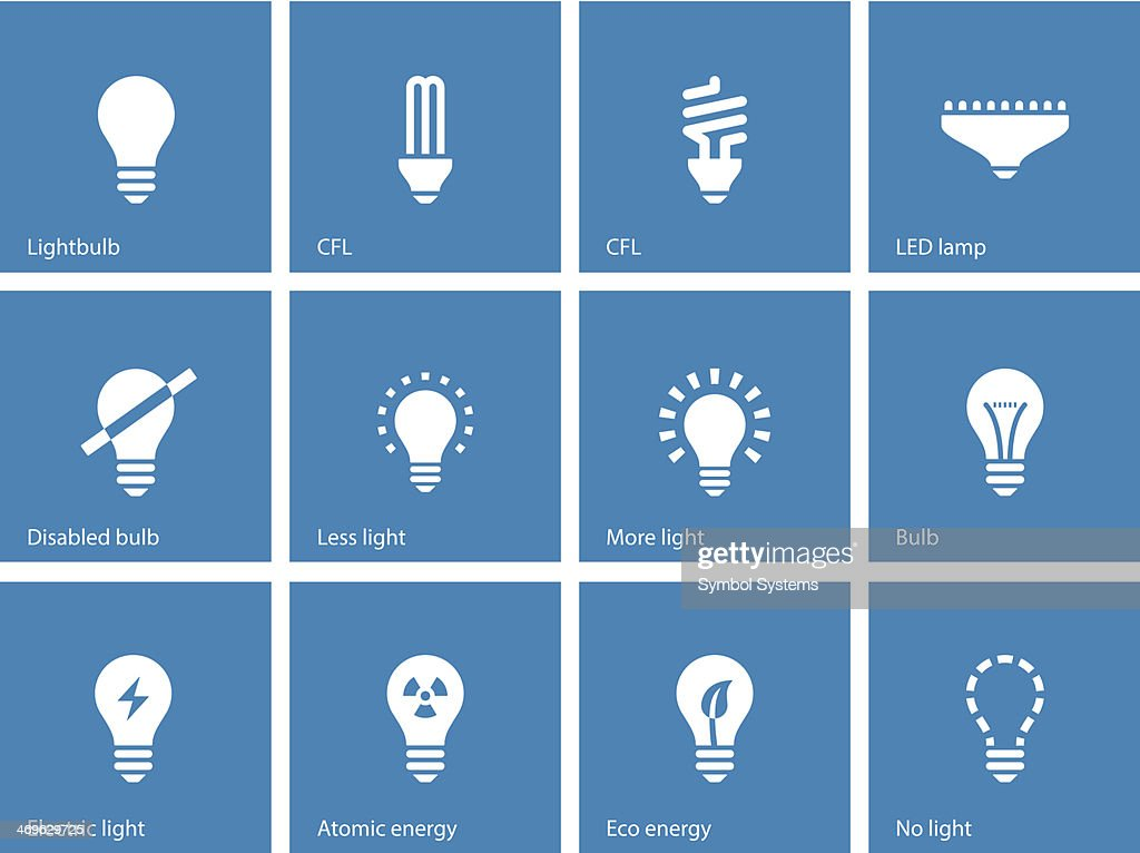 Light bulb and CFL lamp icons on blue background.