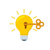 Light bulb and creativity flat style, colorful, vector icon for info graphics, websites, mobile and print media.