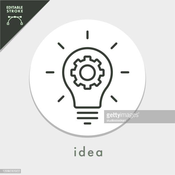 light bulb and gear line icon.editable stroke - light bulb stock illustrations