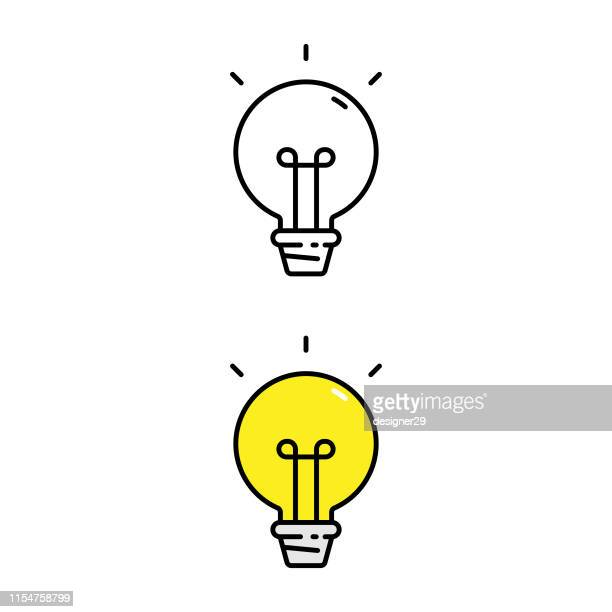 stockillustraties, clipart, cartoons en iconen met gloeilamp en idee icoon. - idee