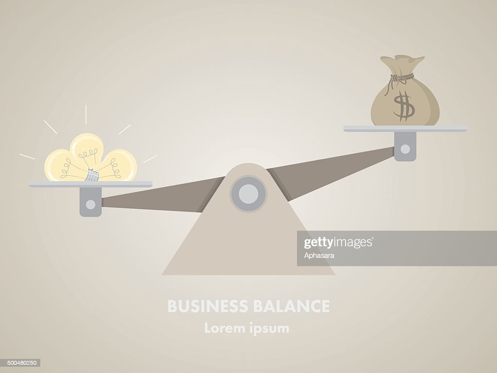 Light bulb and money on the scale.