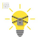 Light bulb are bound with chains and locked with padlock.