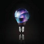 Light bulb aurora space inside, idea concept, transparent vector illustration