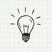 Light bulb doodle icon