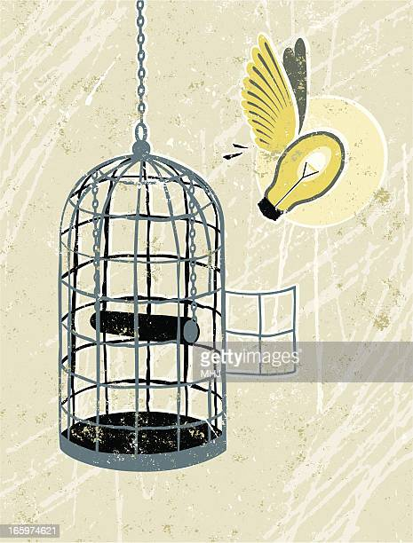 Light Bulb Flying Free From Bird cage