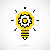 Light bulb icon and gear. Lightbulb and cog, cogwheel inside. Modern flat line vector icon