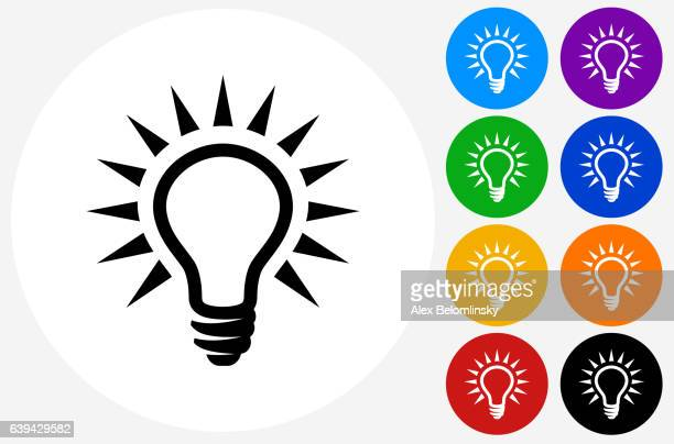 Light Bulb Icon on Flat Color Circle Buttons