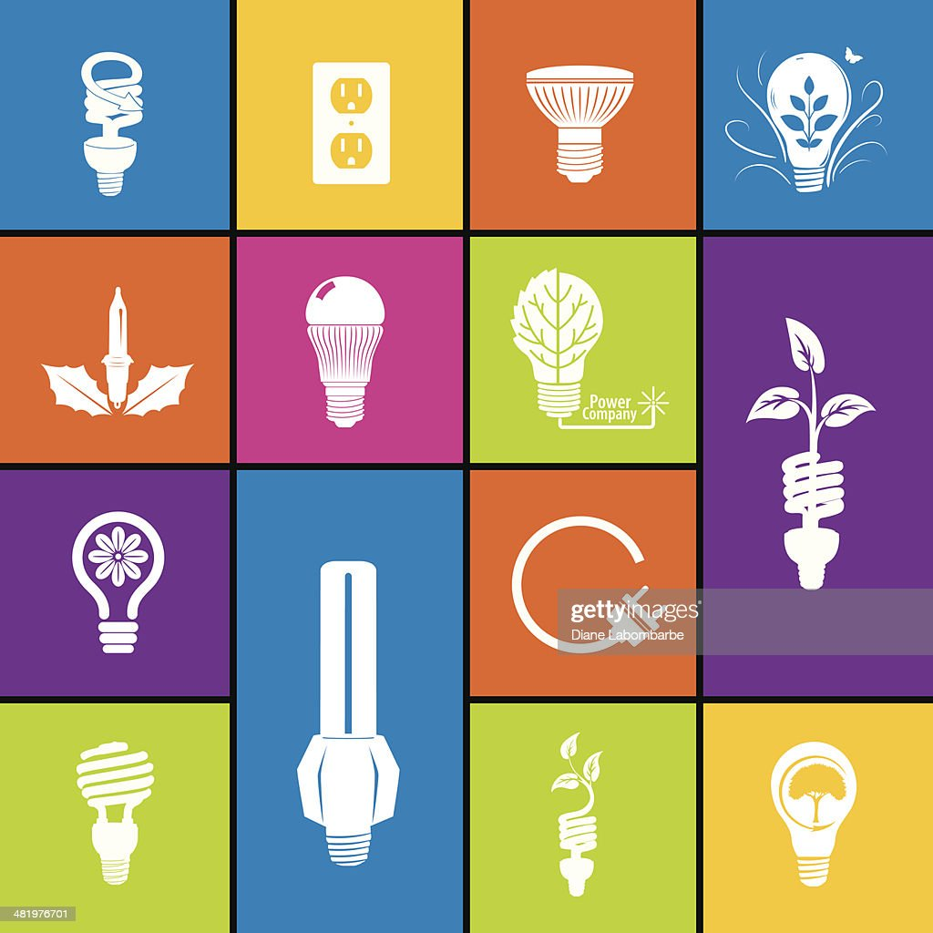 Light Bulb Icon Set In Bold Colors