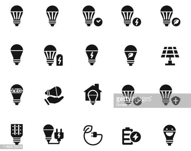 led電球アイコンセット - led点のイラスト素材/クリップアート素材/マンガ素材/アイコン素材