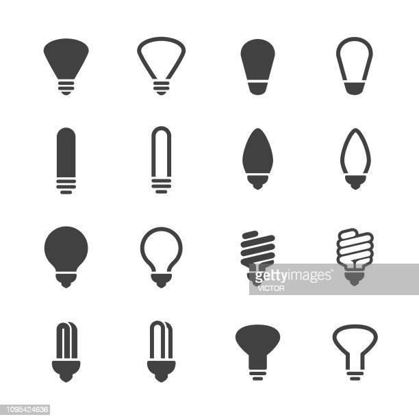 light bulb icons - acme series - fluorescent light stock illustrations