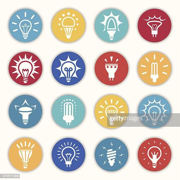 電球のアイコンと記号 - led点のイラスト素材/クリップアート素材/マンガ素材/アイコン素材