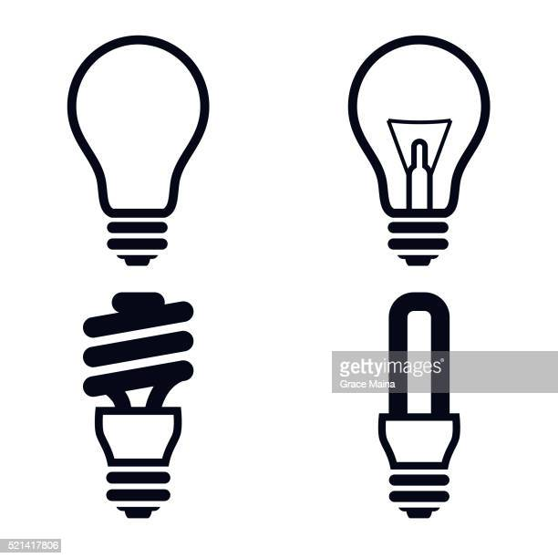 light bulb icons illustration - vector - light bulb stock illustrations