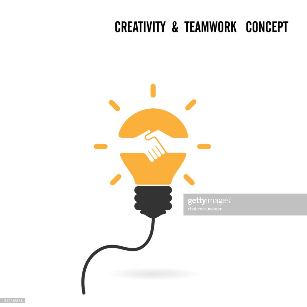 Light bulb idea and handshake concept