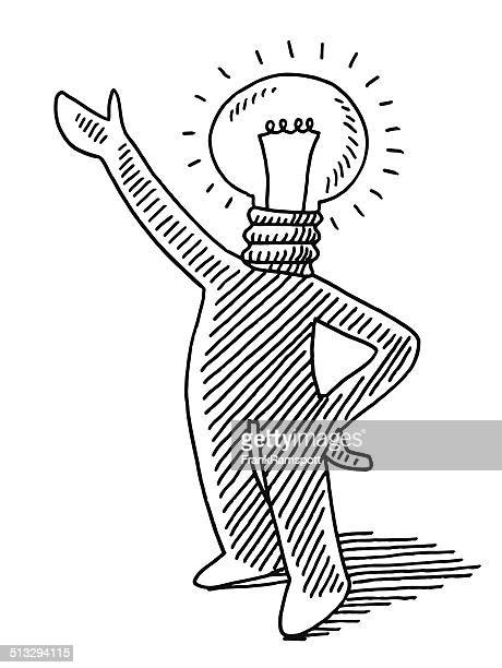 Light Bulb Idea Man Presenting Drawing