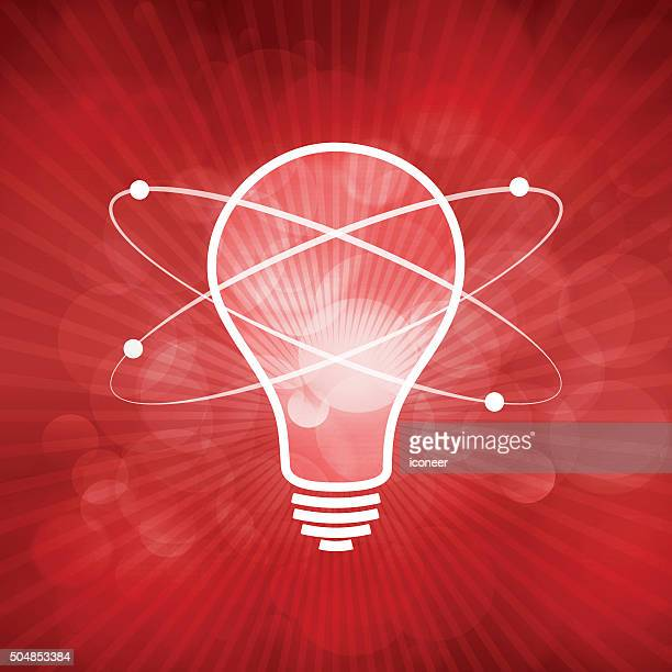 Light bulb illustration with nuclear atom on red rays background