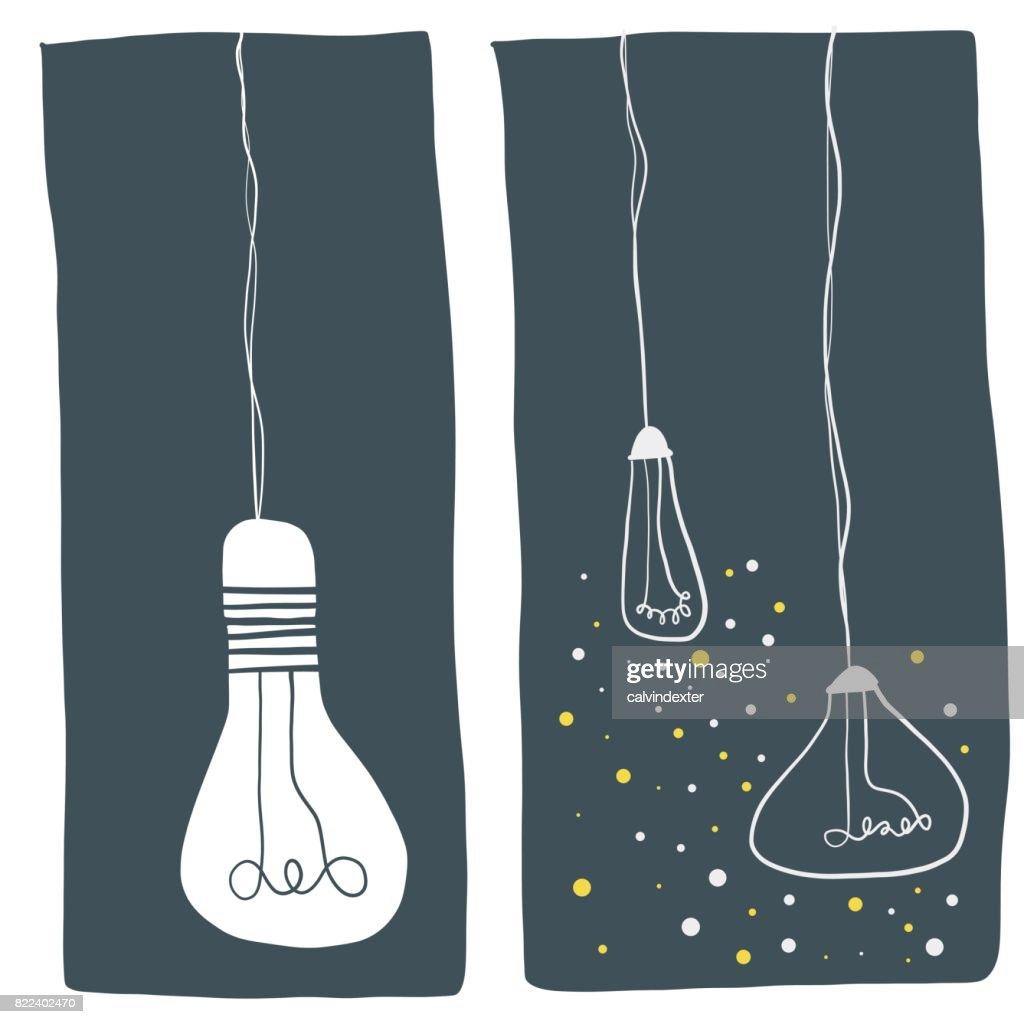 Light bulb illustrations : stock illustration