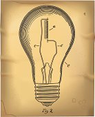 Light Bulb in 1800's Patent Drawing Style