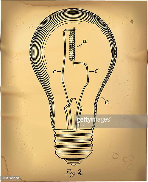 電球に 1800 のパテントの描画スタイル - 知的財産点のイラスト素材/クリップアート素材/マンガ素材/アイコン素材