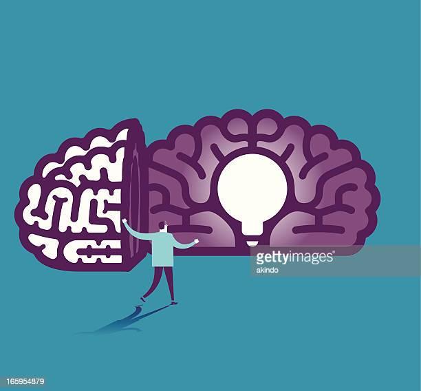電球の脳のベクトルイラスト