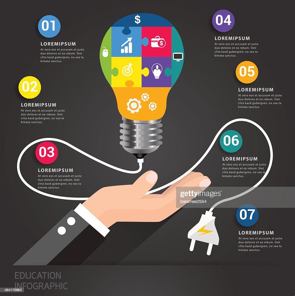 Light bulb jigsaw learn business concept.