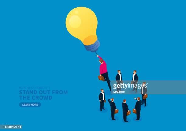 電球は、目立つようにビジネスマンをリードし、空に飛びます - 人材採用点のイラスト素材/クリップアート素材/マンガ素材/アイコン素材
