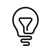 Light bulb line idea icon