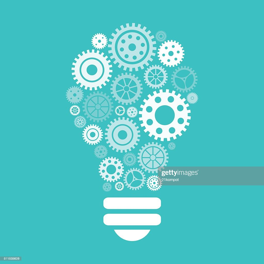 Light bulb of gears and cogs. Brainstorm and idea concept.